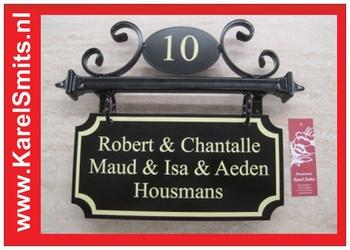 Naambord met Huisnummer Eindhoven Zwart Smeedijzer